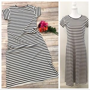 LOUP Toffee Stripe Dress Medium Cotton